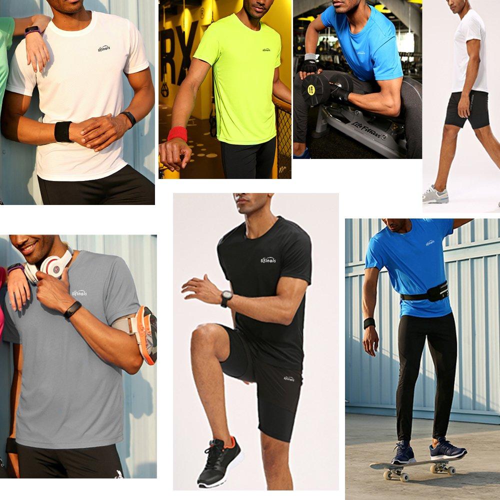 LIFINAIS Mens Dri Fit Athletic Short Sleeves Shirts 3 1 Pack