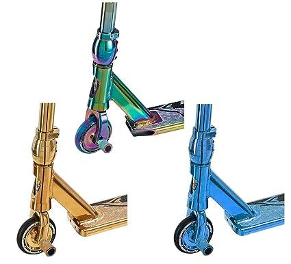 Patinete Pro 4 Evo Neochrome Kids 360 en neocromo arcoíris, azul o dorado con clavijas opcionales, de Team Dogz