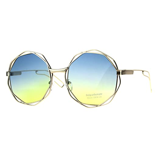 cc3df9e29a Womens Fashion Sunglasses Gold Angled Round Double Frame Ombre Blue Yellow  Lens