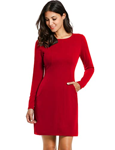 ANGVNS Women Casual Long Sleeve Slim Fit Party Bodycon Sheath Dress With Pockets