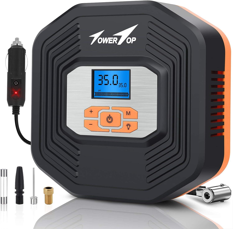 Towertop Auto Luftpumpe 12v Luftkompressor Tragbare Elektrische Reifen Inflator Kompressor Mit Led Bildschirm Und Lcd Display Für Auto Fahrrad Motorrad Ball Auto