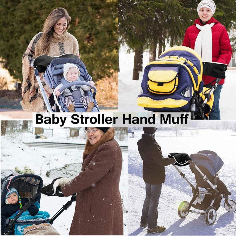 55CM Dosige Handw/ärmer Kinderwagen Handschuhe mit Warm Fleece Innenseite Anti-Freeze Dick Handmuff f/ür Winter Kinderwagen Buggy Radanh/änger Rot 48