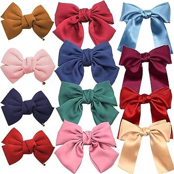 Women Girls Baby Kid Satin Ribbon Bowknot Headwear Hair Bow Hair Clip Pin