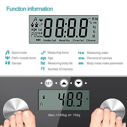 Balanza Medidora Escala de Grasa - TechRise Analizador de Grasa Corporal de Baño Digital, Medidas de Composición Corporal, Peso, IMC, Grasa Corporal, ...