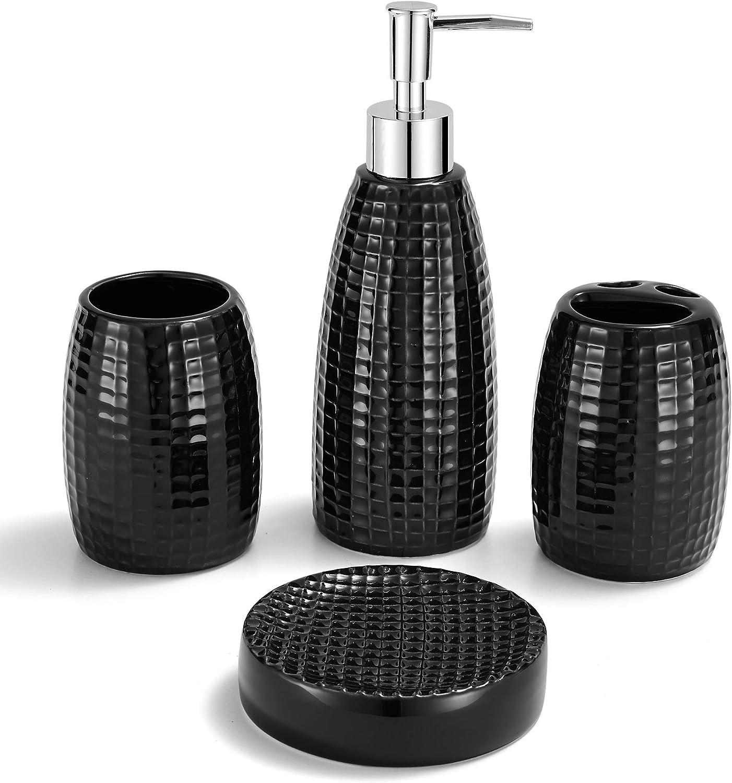 TRUSTLIFE 4 Pezzi Set di Accessori da Bagno in Ceramica per Casa e Hotel Incluso Distributore per Lozione Bicchieri per Spazzolino da Denti Porta spazzolino e Portasapone