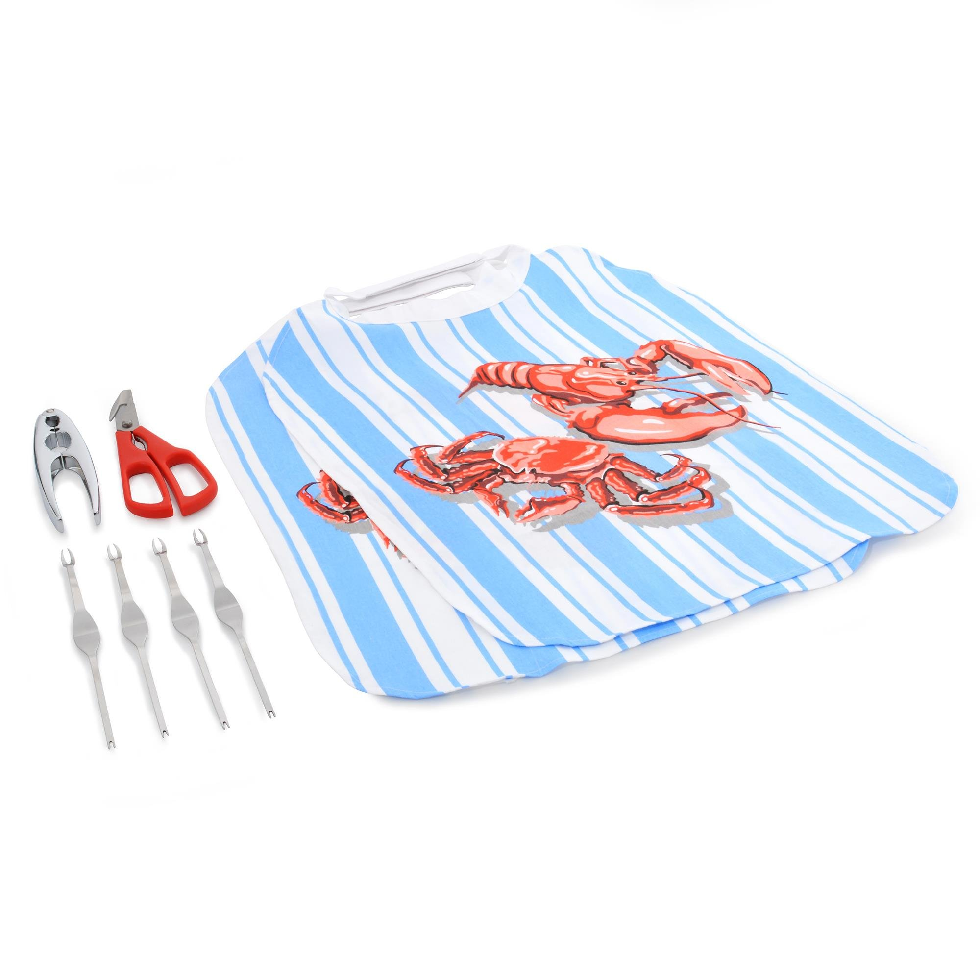 NORPRO Seafood Sets - Poacher, Crackers, Forks, Bibs, Oyster Knife (8-Pc)