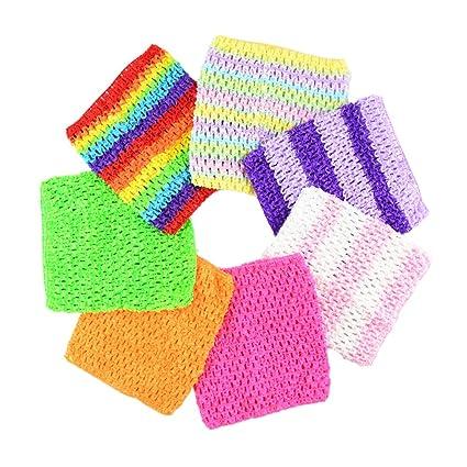 "7fe96c6485 Amazon.com  BERON Pack of 7 6"" Handmade Baby Girl Silk Crochet Tutu Tube  Top Chest Wrap for Toddler Infants(AID27-C)  Arts"