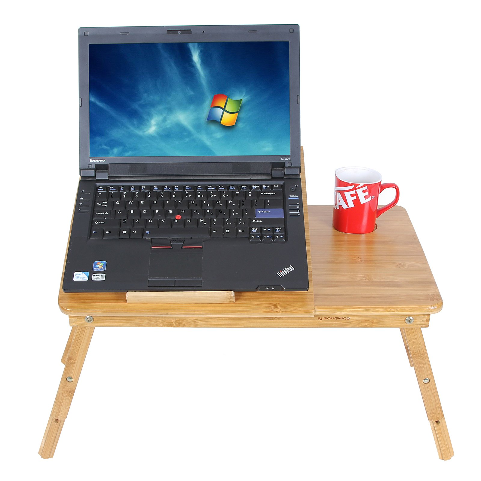 SONGMICS Bamboo Laptop Desk Serving Bed Tray Tilting Top ULLD001 by SONGMICS (Image #3)