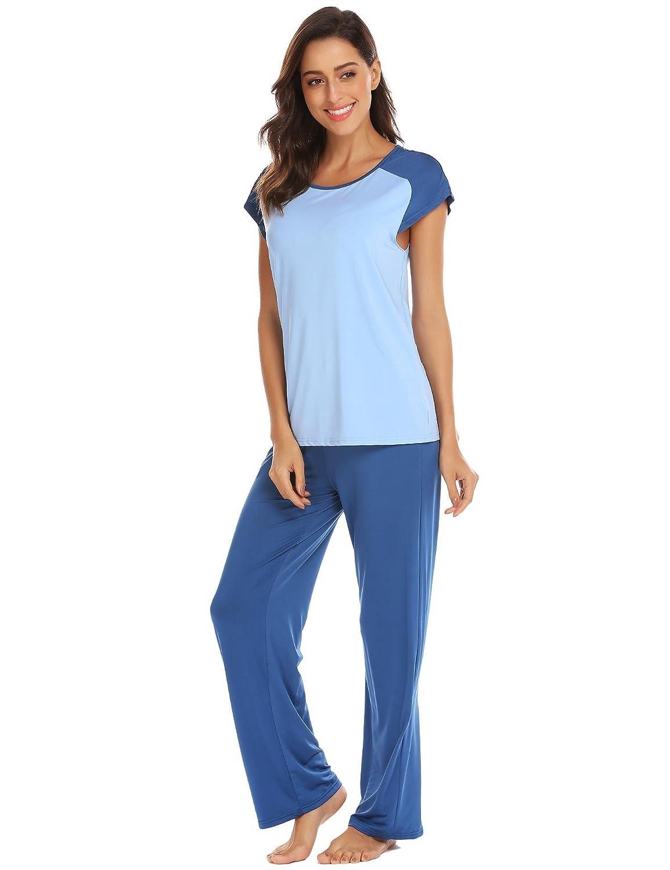 Dark bluee Vansop Women Pj Set Short Sleeve Top and Striped Pajama Pants Sleepwear SXXL