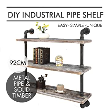 3 Level Rustic Industrial DIY Pipe Shelf Storage Vintage Bookshelf Wall Mount Kitchen 36inch
