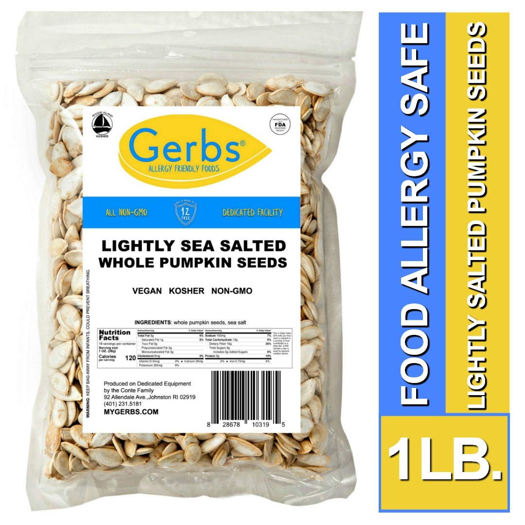 Gerbs Lightly Sea Salted Whole Pumpkin Seeds, 1 LB. - Top 14 Food Allergy Free & NON GMO - Vegan, Keto Safe & Kosher - Grown in USA by GERBS