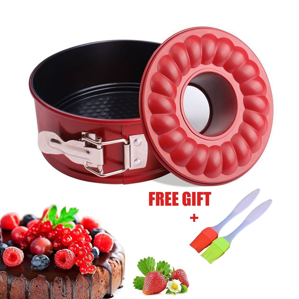 7 inch Springform Cake Pan Non stick Baking Bundt Pans for Instant Pot 5,6,8 Qt with 2 Removable Bottom and Silicone Brush Leakproof Cheesecake Bakeware Fish&Fairy