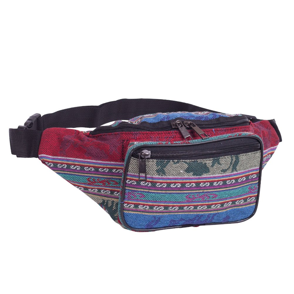 Fanny Pack Stripe 80s Waist Bags, iridescent Woven Tribal Print Waist pack for Travel,Rave Party,Trip,Festival