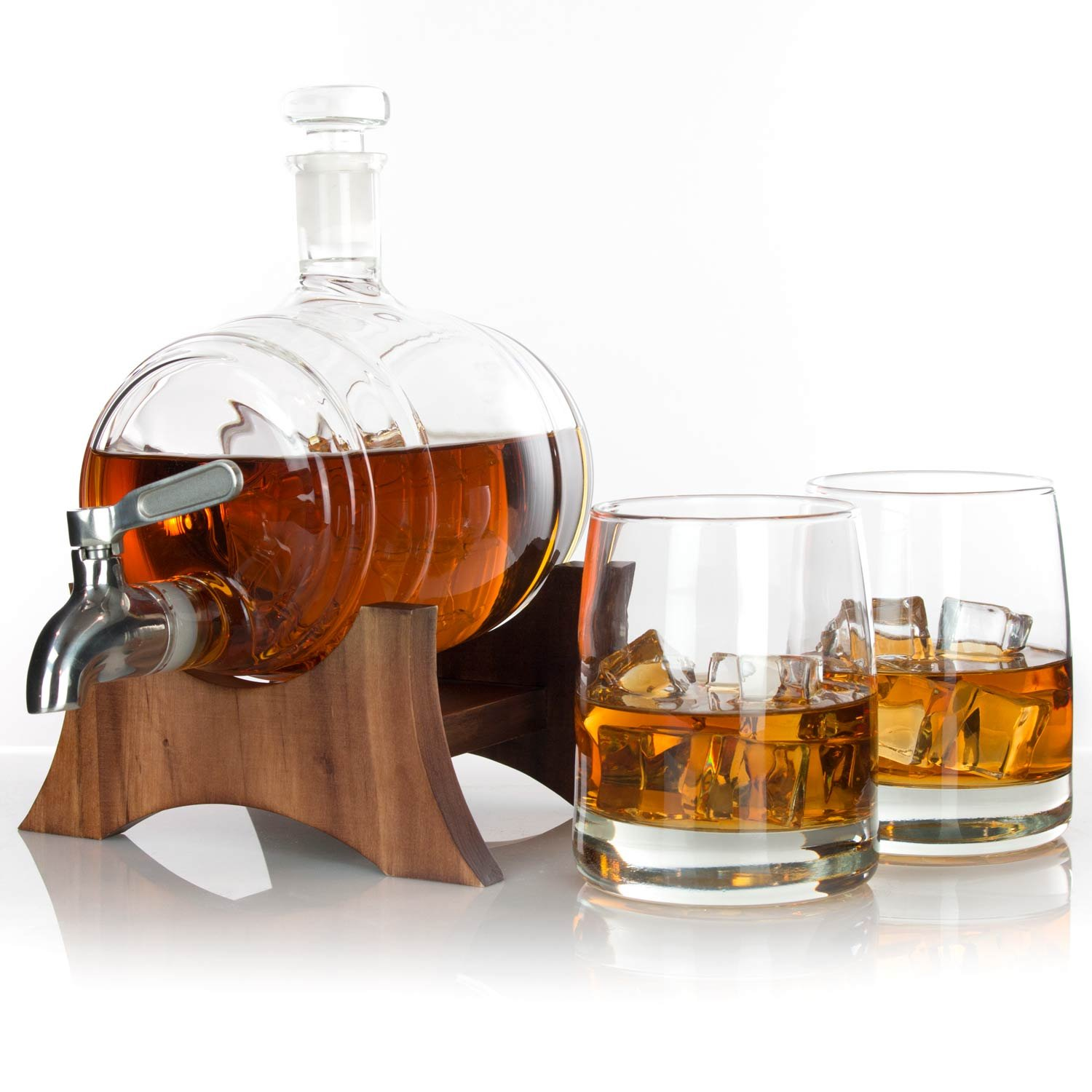 Atterstone Barrel Whiskey Decanter Set / Full set with two Whiskey Glasses, Custom Decanter Stand, Whiskey Stone Set, Stainless Steel Dispenser and funnel by Atterstone (Image #2)