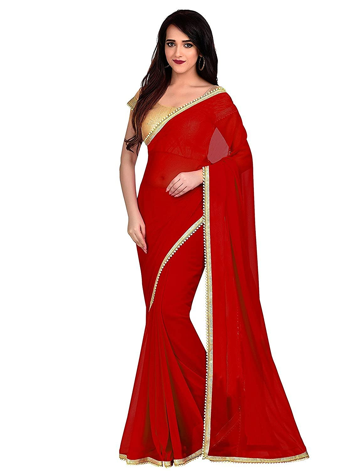 62b5459c16024 RR Crafts   Creations Georgette Women s Saree with Blouse Piece (Black)   Amazon.co.uk  Clothing