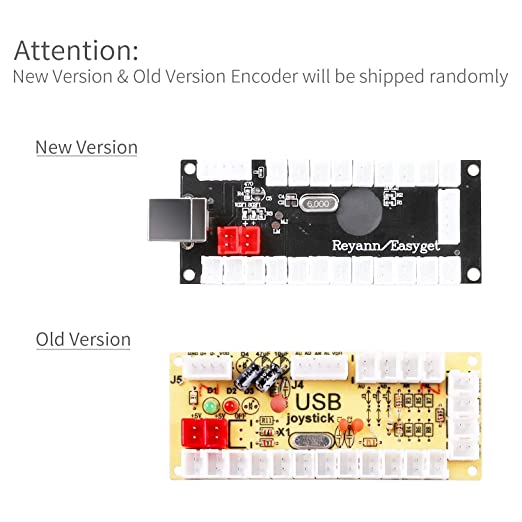 amazon com: easyget zero delay arcade usb encoder pc to joystick for mame  jamma & other pc fighting games (fit for 2pin joystick + sanwa style push  button):
