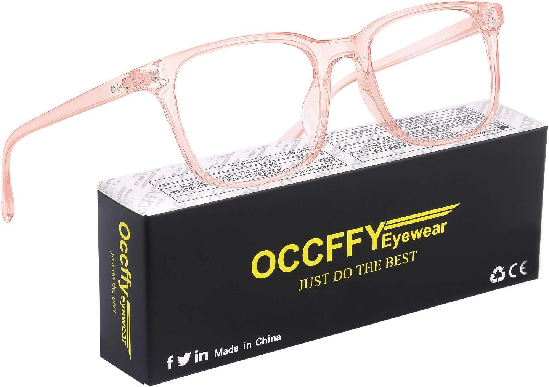 Occffy Gafas para Ordenador Anti luz Azul Antifatiga Sin Graduacion Gafas Luz Azul para PC, Gaming, Tablet, Lectura, Video Juegos Lentes Transparente Hombre Mujer Oc092 (Rosa)