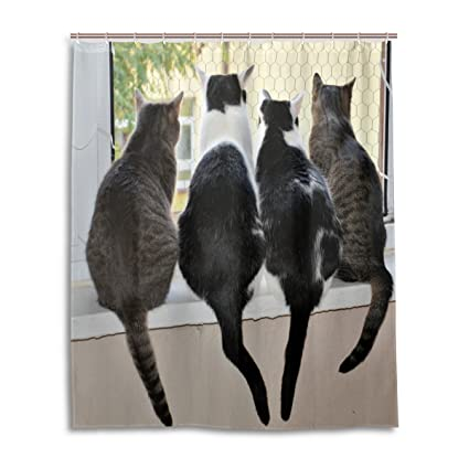 Amazon Com Shower Curtain Cat Window Friendly Polyester Fabric
