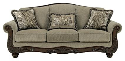 Ashley Furniture Signature Design   Martinsburg Sofa   Traditional Couch    Meadow With Brown Base