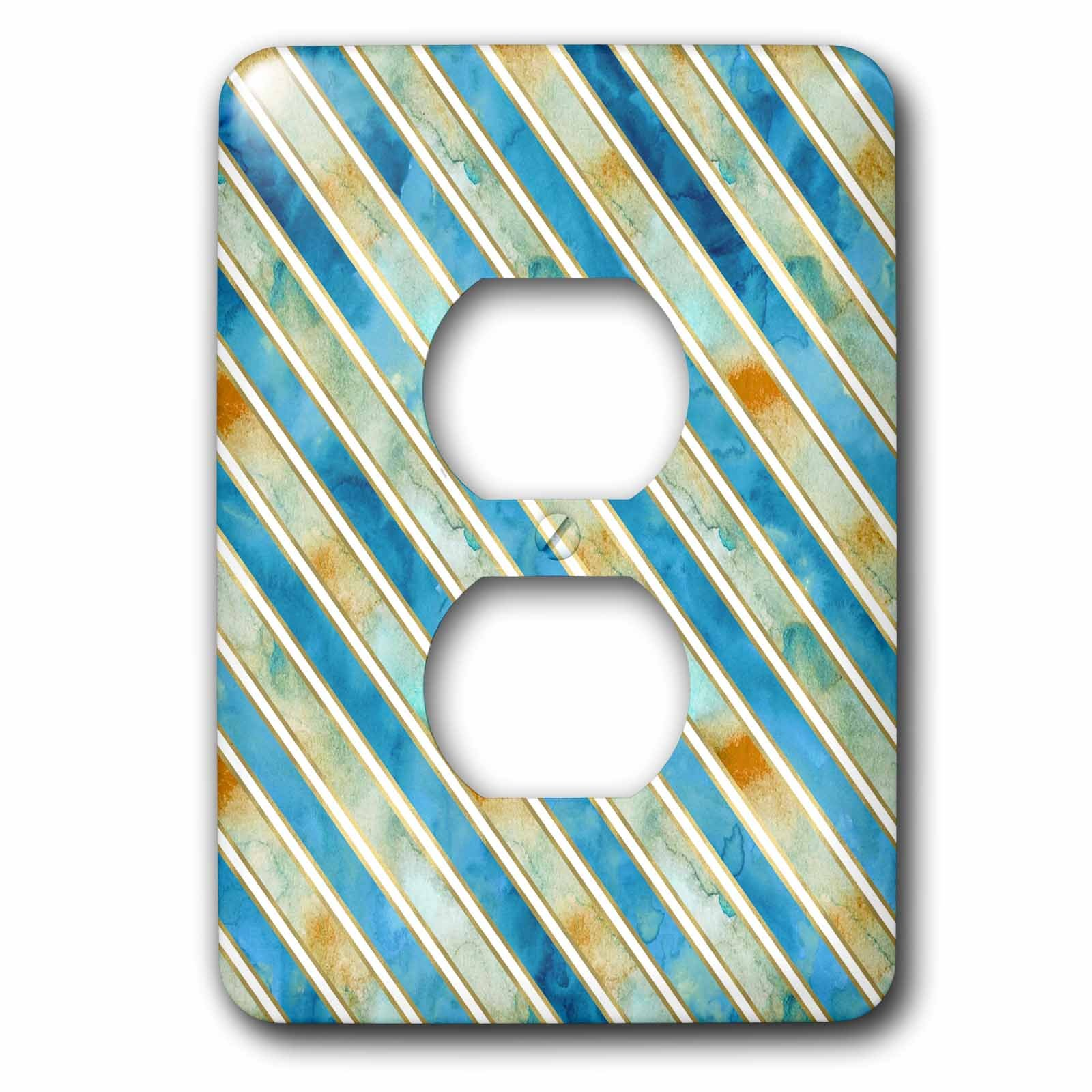 3dRose PS Chic - Image of Aqua Bronze Abstract Stripes - Light Switch Covers - 2 plug outlet cover (lsp_274230_6)