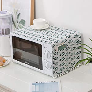 Microwave Oven Cover Dustproof Top Cover Cotton Linen Toaster Cover Kitchen Appliance Protector Decorative Dust proof Cover with 4 Side Storage Pockets, 11.8