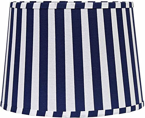 Home Collection by Raghu 10 Cobalt White Stripe Regular Clip Drum Lampshade