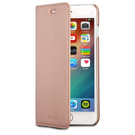 CASEZA iPhone 8 Plus Funda/iPhone 7 Plus Funda Rosa Oro Tipo Libro Piel PU Case Cover Carcasa Plegable Cartera Oslo Piel Vegana Premium para Apple ...