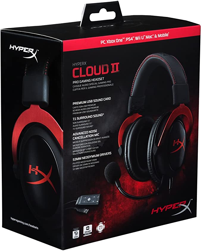 Amazon.com: HyperX Cloud II - Gaming Headset, 7.1 Surround Sound, Memory Foam Ear Pads, Durable Aluminum Frame, Red and HyperX Pulsefire Surge - RGB Gaming ...