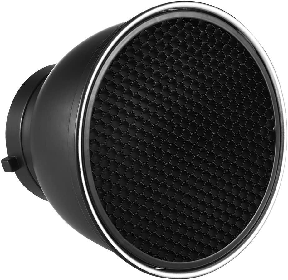 RuleaxAsi 7 Standard Reflector Diffuser Lamp Shade Dish with 20/° 40/° 60/° Honeycomb Grid for Bowens Mount Studio Strobe Flash Light Speedlite
