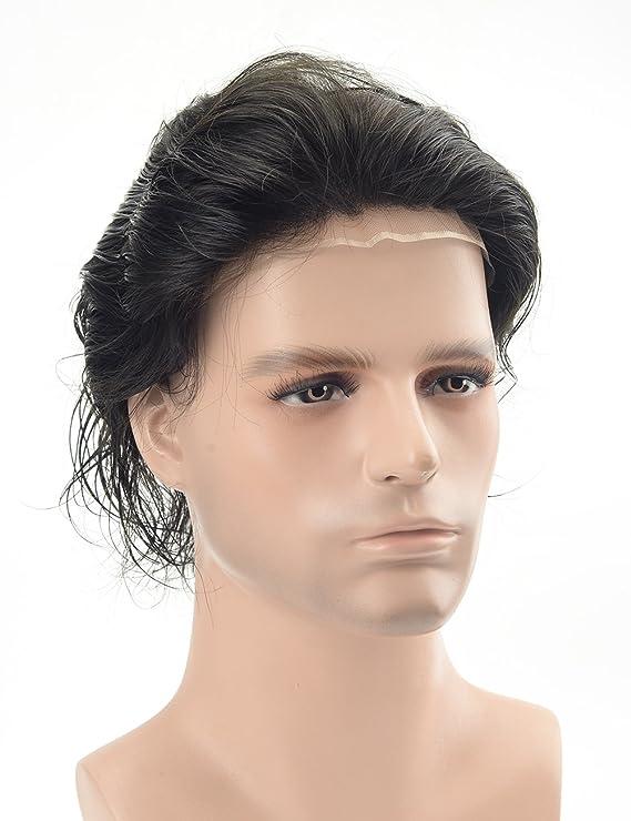 Lordhair - Cabello humano de encaje francés para hombre (color 1 A): Amazon.es: Belleza