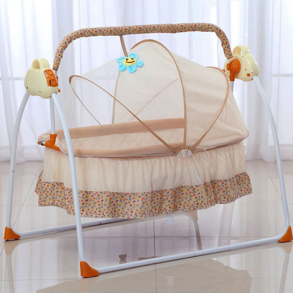 Pink Electric Baby Crib Music Cradle Rocking Infant Bassinet Sleeping Bed Auto Bassinet Swing Sleeping Bed Auto-Swing Big Baby Bed