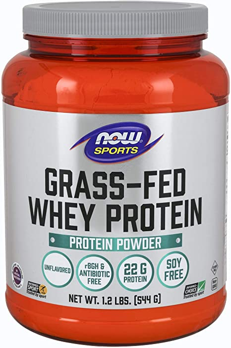 Now Grass-Fed Whey Protein Concentrate Natural Unflavored 1.2 lbs
