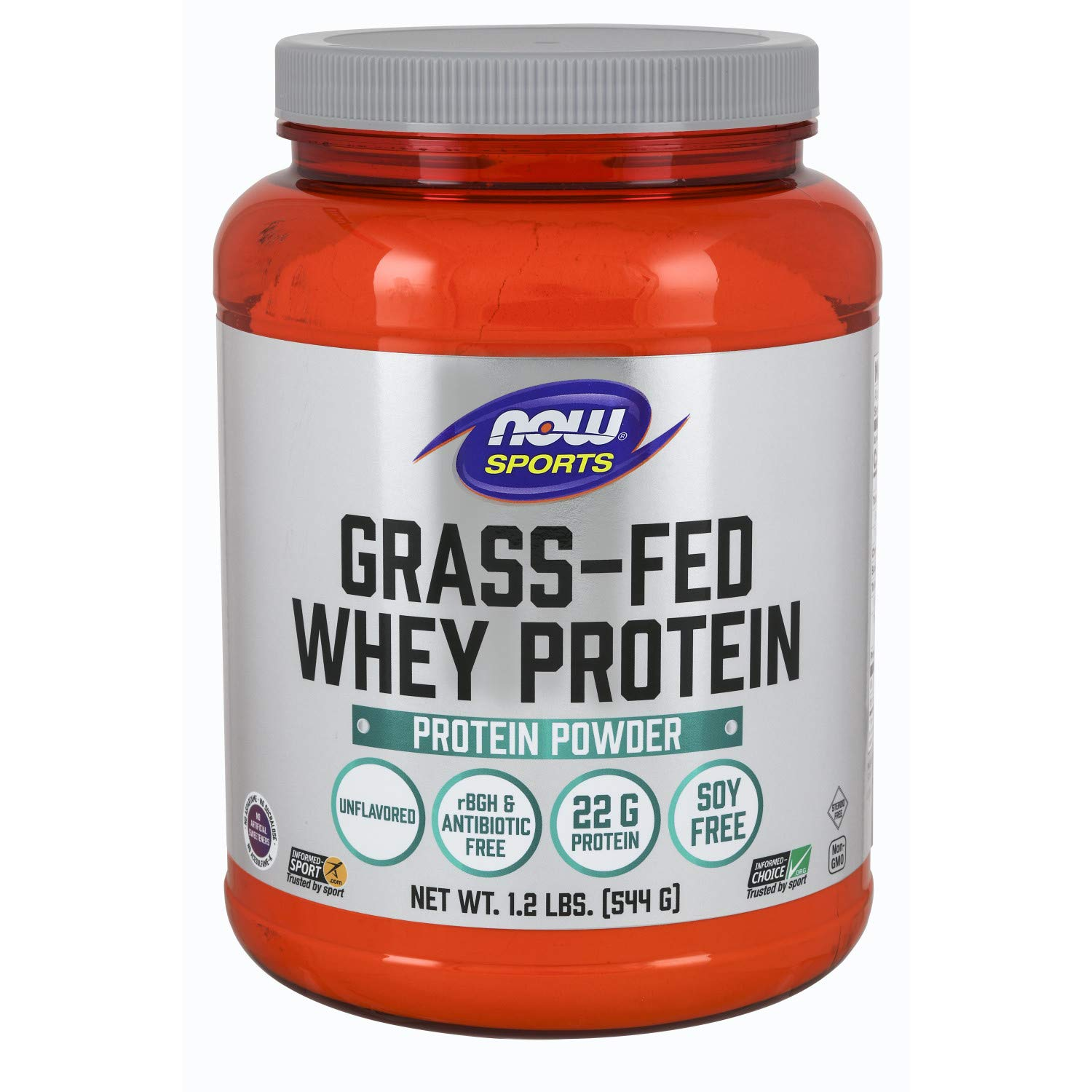 Now Sports Nutrition, Grass-fed Whey Protein Concentrate, Unflavored, 1.2-Pound by NOW Foods