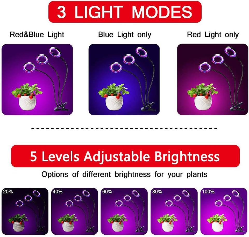 Auveach Lampada per Piante 27 W 54 LED 3 Testa Plant Grow Light Indoor Coltivazione Dimmerabile 5 Punti Interno Lampada per la Crescita 3 Timer Collo di Cigno Regolabile a 360 /°