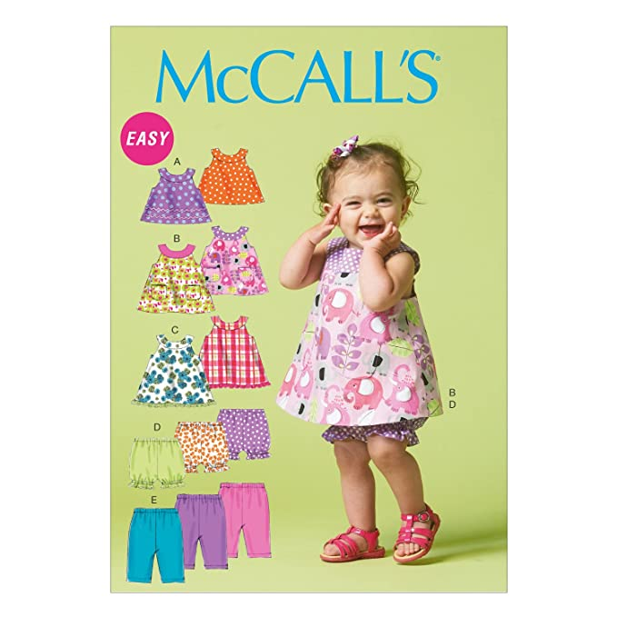 Amazon.com: McCall Pattern Company M6912 Infants Reversible Top Dresses Bloomers and Pants, Size YA5: Arts, Crafts & Sewing