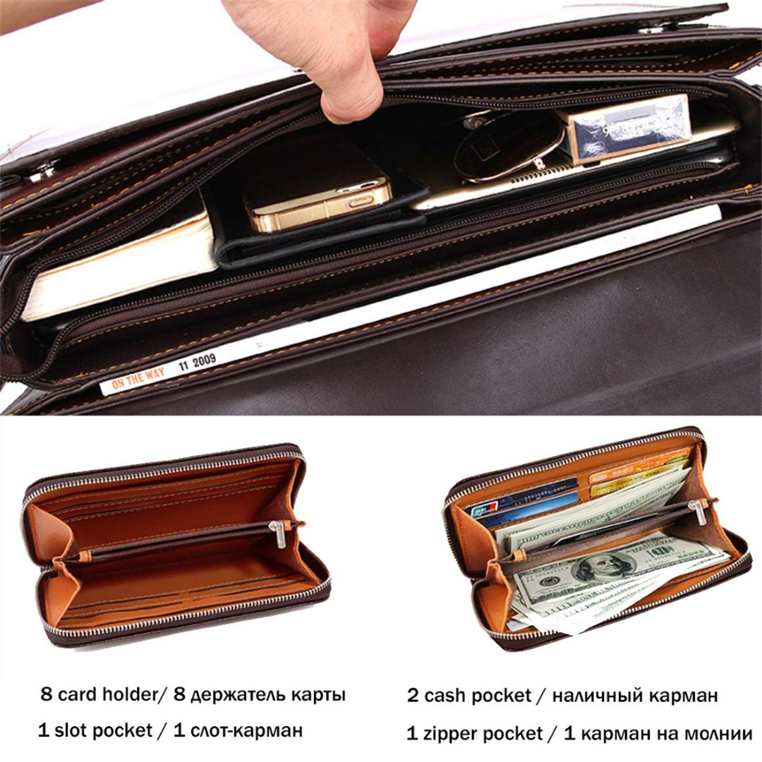 Luxury Business Mens Briefcase With Code-Lock OL Business Man Bag Italy Pasta Executiva Set brown