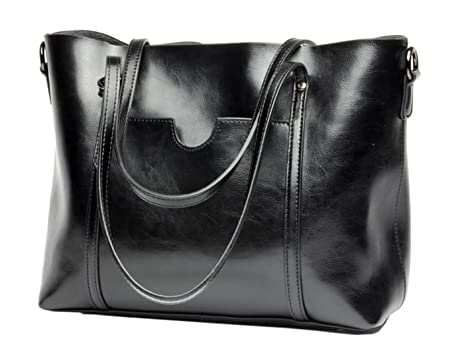 3655e433e358 SAIERLONG Ladies Designer Womens Black Genuine Leather Handbags Tote  Shoulder Bags