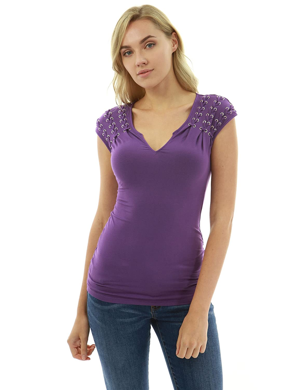 Purple PattyBoutik Women Notch Neck Lace Up Detail Blouse