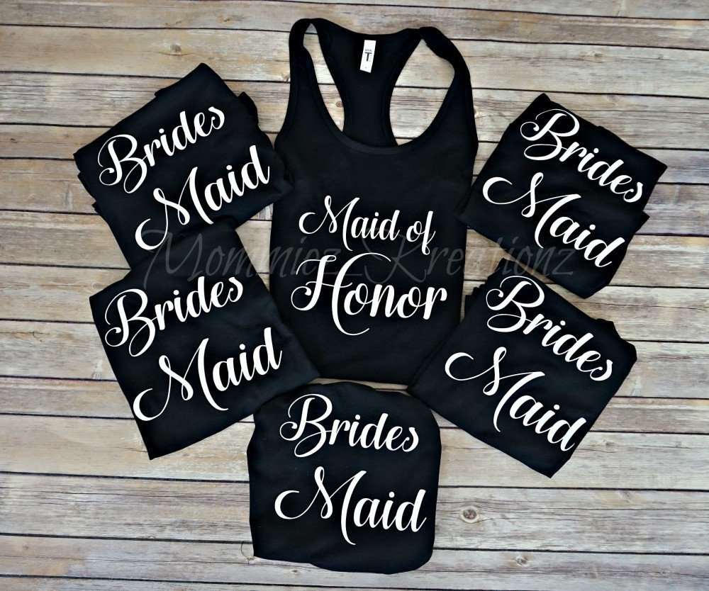 Set of 7 Bridesmaid Bridal Party Tank Tops, Bachelorette Party Shirts, Bride Shirt by Mommiez_Kreationz