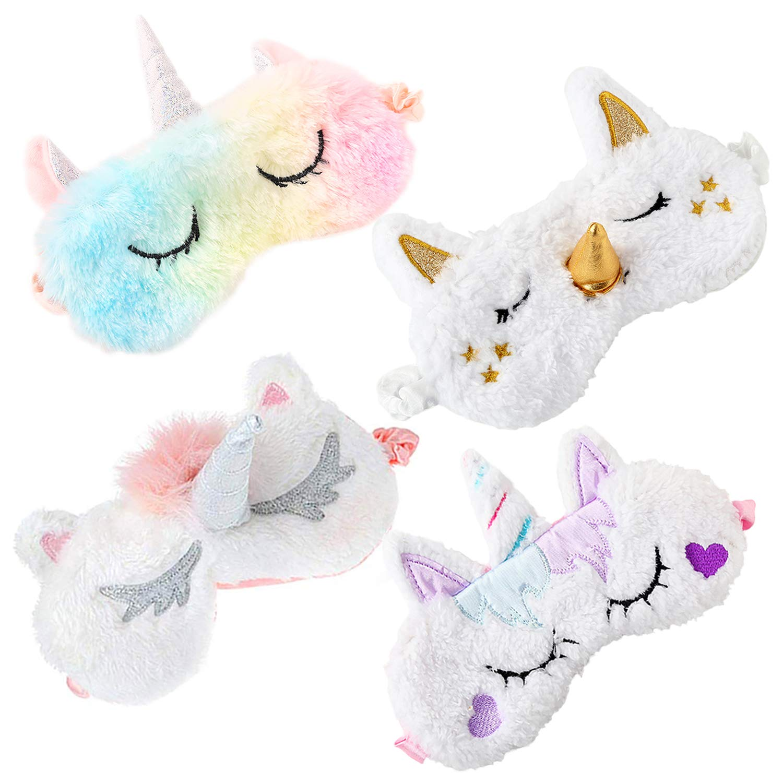 Fascigirl Maschera per dormire unicorno, 4 maschera occhi per dormire Unisex 3D Peluche Traspirante Maschera per gli occhi simpatico cartone animatoambini Adulto