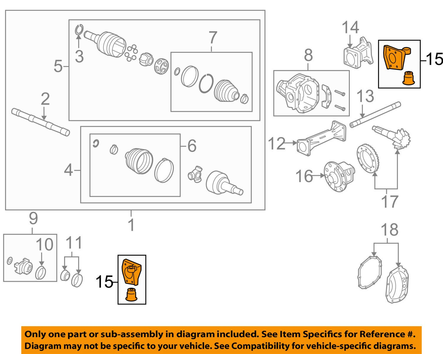 Right Front Genuine GM 15856421 Differential Carrier Bracket