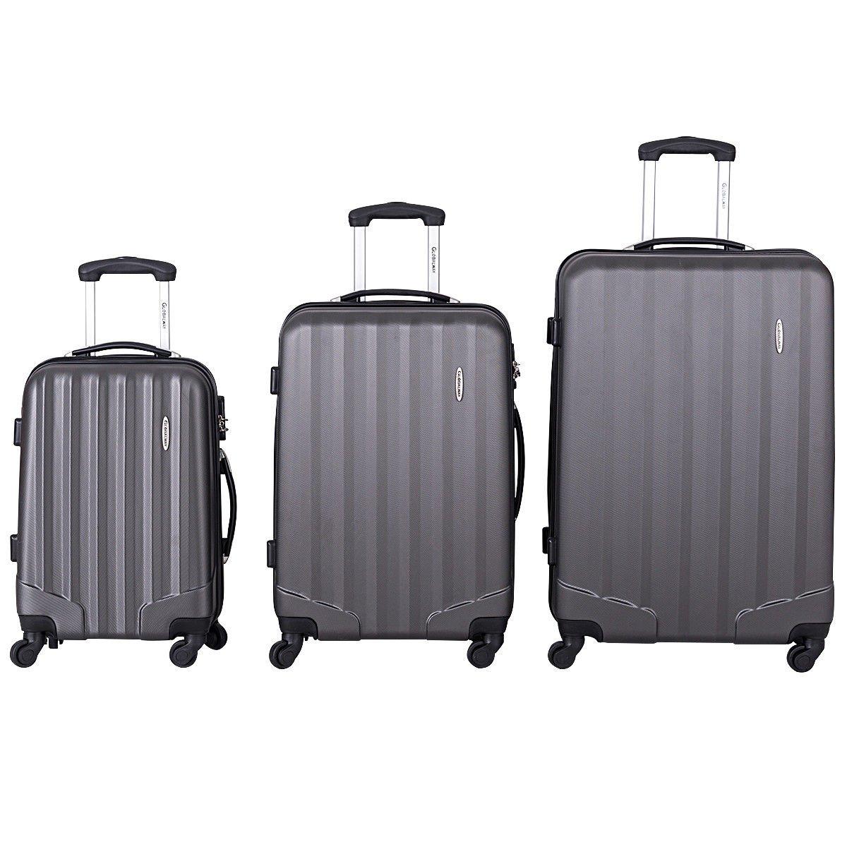Giantex Globalway 3 Pcs Luggage Set Bag Travel ABS Trolley Suitcase w/TSA Lock Black (Gray)