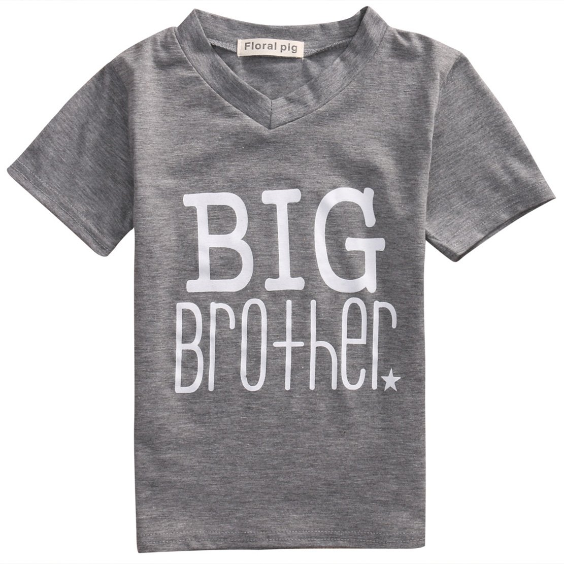 Baby Letter Outfits Little Brother&Big Brother Print Star Pattern Romper& T-Shirt Tee Tops
