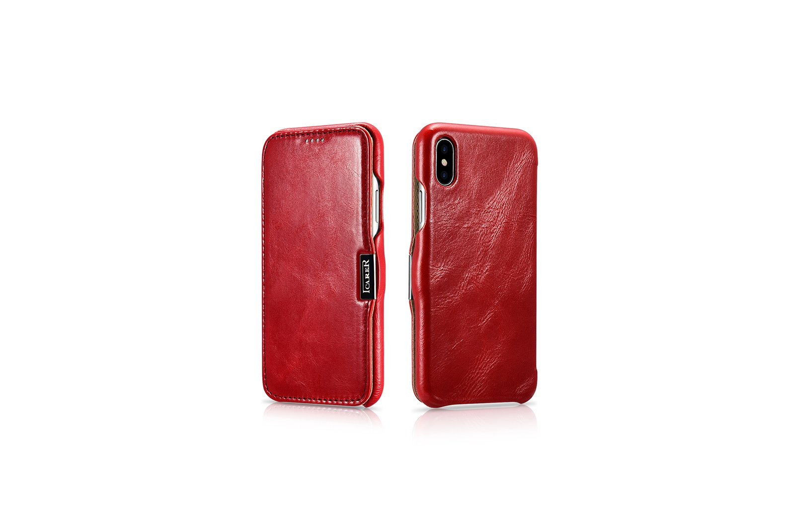 iPhone X Case, ICARER Vintage Series Genuine Leather Folio Flip Case Cover with Magnetic Closure for Apple iPhone X (Red)