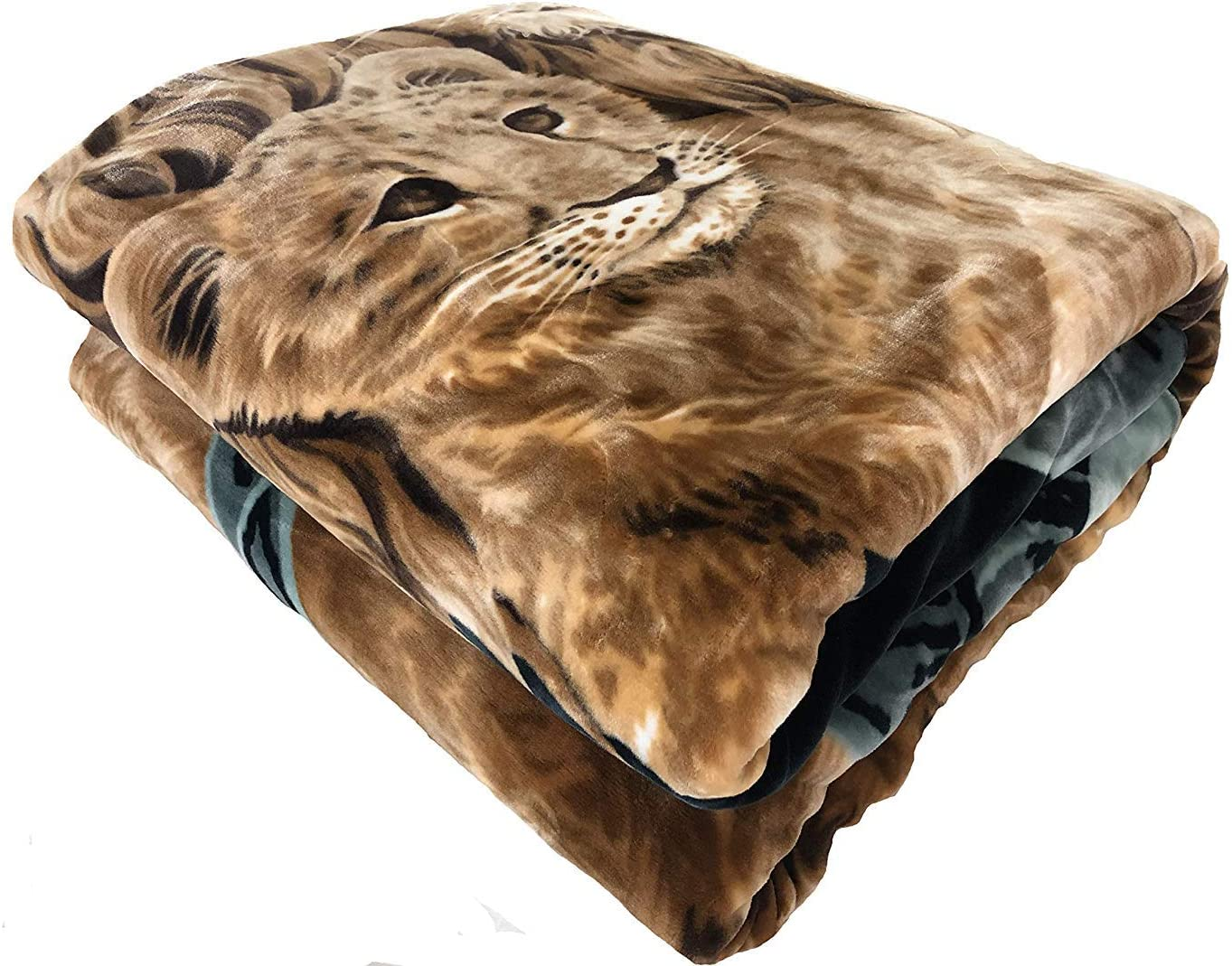 Solaron Original Lions Korean Mink Super Soft Plush Queen Size Blanket Green