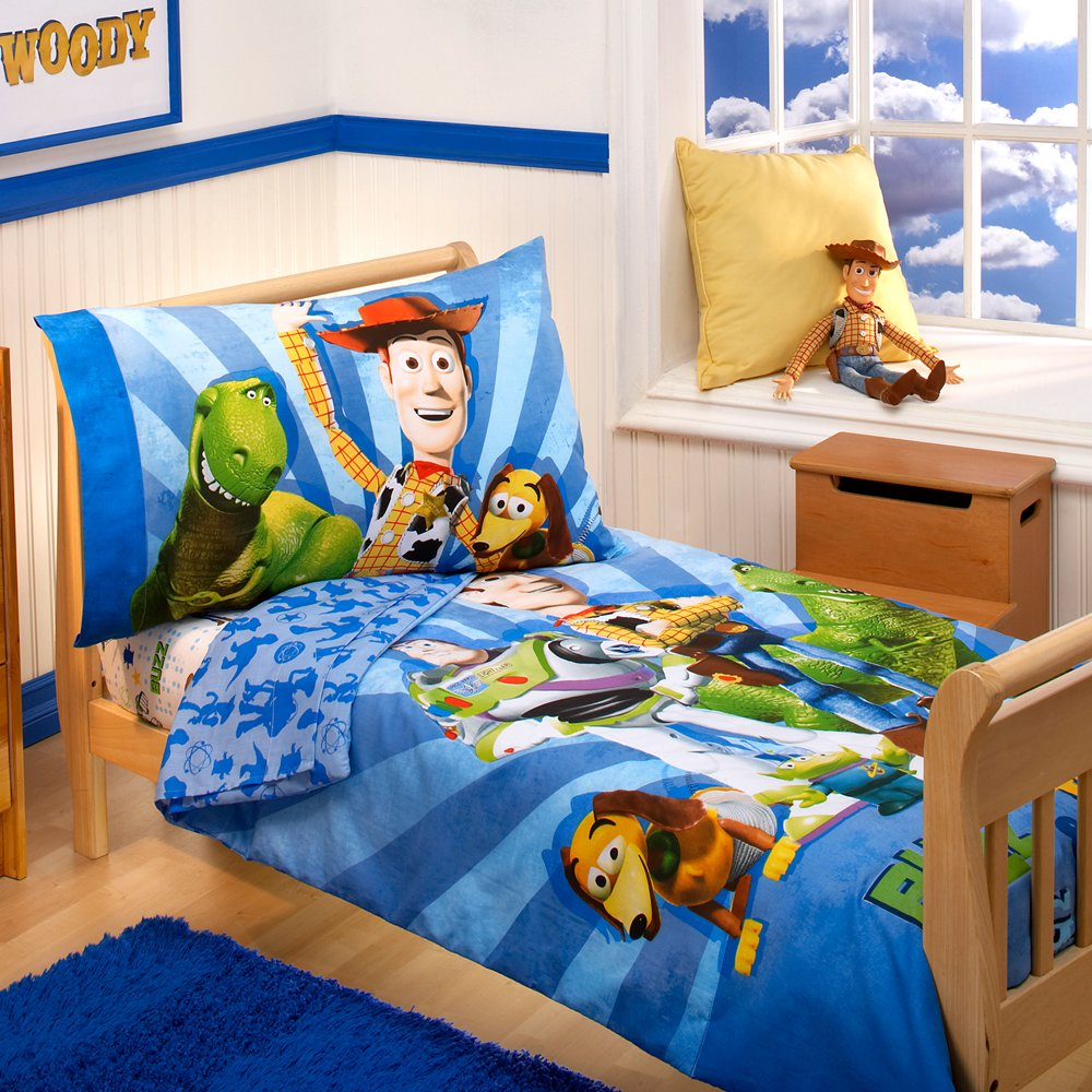 Toy story toddler bedding - Amazon Com Disney 4 Piece Toddler Bedding Set Buzz Woody And The Gang Toy Story Toddler Comforter Baby