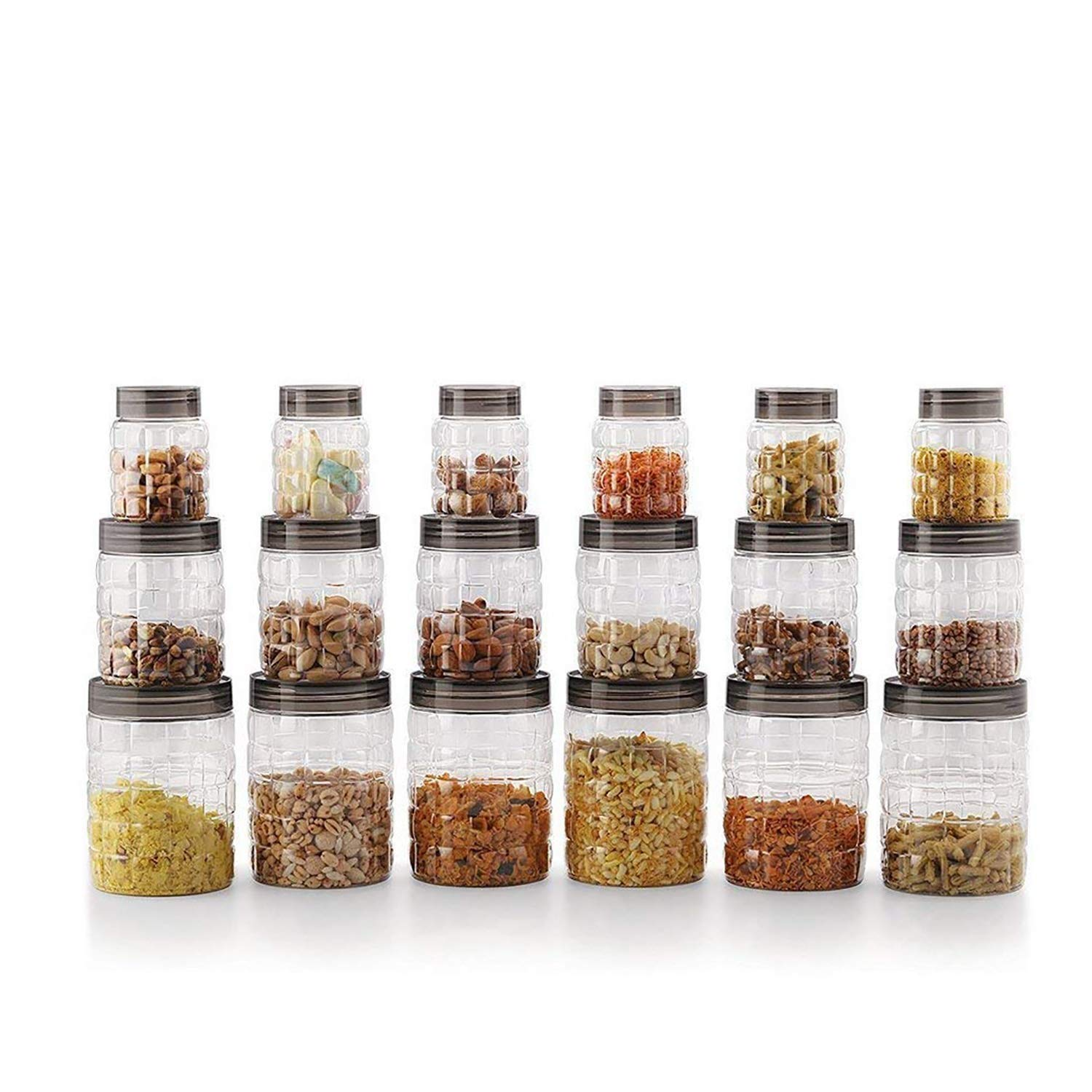 Cello Checkers Plastic PET Canister Set, 18 Pieces, Clear product image