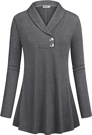 قمم الخريف للنساء بأكمام طويلة شال الرقبة زر أسفل بلوزات قمصان