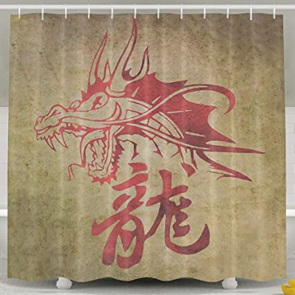 Waterproof Bath Curtain Chinese Character Dragon Tattoo Shower 100 Polyester Fabric 65quot