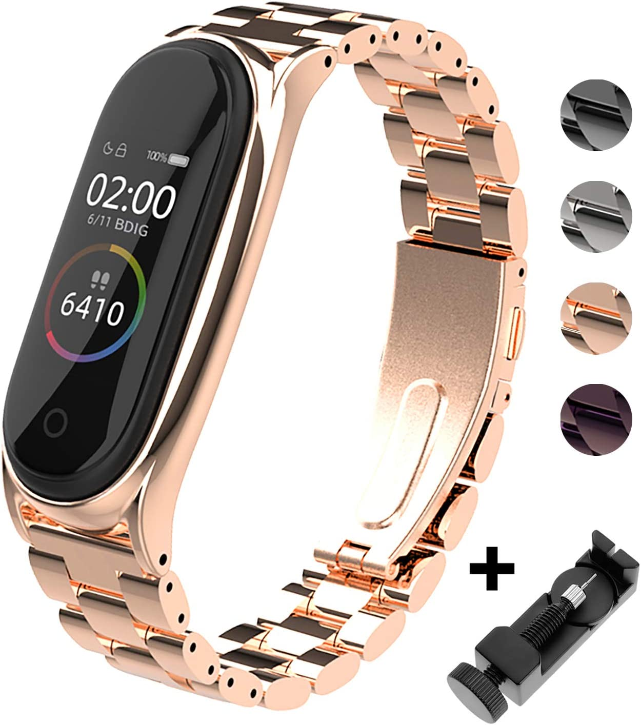 BDIG Correa Compatible Xiaomi Mi Band 4 Correas Metal,Pulsera de Acero Inoxidable Agradable para Mi Band 4 Correa (No Host)(Plus Oro Rosa)